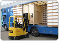 Loading furniture storage container